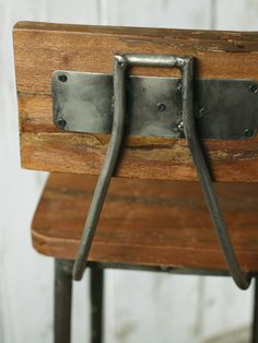 Industrial Wooden Stool, back