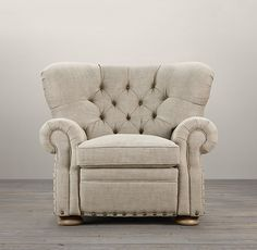 "Churchill Upholstered Recliner | Chairs | Restoration Hardware--bought it in their perennials indoor/outdoor fabric--""textured linen weave--sand"".  It reclines and husband loves it."