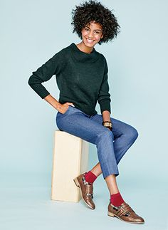 The Funnel-Neck Sweater - In one of this fall's top colors, it will be your go-to times two all season long. Turn up the prepster vibe by pairing it with borrowed-from-the-boys plaid brogues. | mark. Funnel of Love Sweater and Mad About Plaid Brogues #falloutfit #markgirl #fallfashion