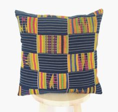 Authentic Vintage African Kente Cloth Pillow 'Biri' by CacoandKai