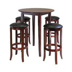5 Piece Fiona High Table Set with  Swivel Stools Wood/Antique Walnut ($290) ❤ liked on Polyvore featuring home, furniture, stools, barstools, antique walnut, wooden bar stools, wooden bar table, black bar table, wooden pub tables and wood bar stools