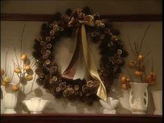 Martha Stewart and Hannah Millman create pine cone wreaths.