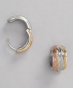 Hmy Jewelry Tricolor Gold Stainless Steel Huggie Earrings
