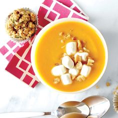 Gingered Sweet Potato Soup with Marshmallow and Peanut Topper | CookingLight.com #myplate #veggies