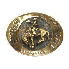Saddle Bronc Riding El Paso Del Norte State National Heritage Mint Brass Belt Buckle
