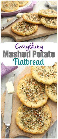 Everything Mashed Potato Flatbread - Skip the onion and garlic powder to keep this recipe low FODMAP #potato #flatbread #breakfast #brunch #lunch #appetizer #glutenfree #lactosefree #fodmap #lowfodmap