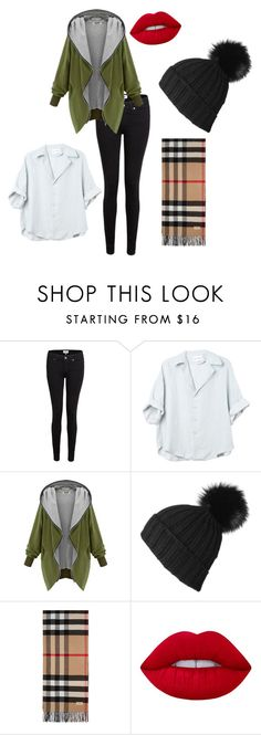 """""""Untitled #137"""" by fridajhaugen ❤ liked on Polyvore featuring Paige Denim, Black, Burberry and Lime Crime"""