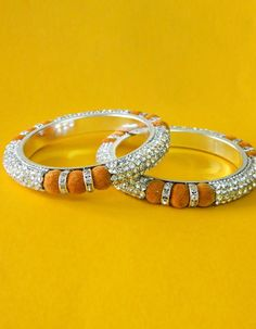 #Bangles, #Bracelets & #Kadas - Silver & Yellow Stone Studded Bangles Costs Rs.  770. #Jewellery. BUY it here: http://www.artisangilt.com/jewellery/bangles-bracelets-kadas/silver-yellow-stone-studded-bangles.html?ref=pin