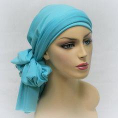 Aqua Turban Head Wrap Alopecia Chemo Head Scarf by TurbanDiva, $49.95