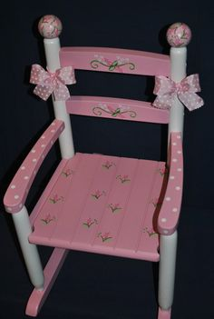Items similar to Children's - Custom Hand Painted - Pink Floral-Rosebud -Girls Rocking Chair-Baby Shower Gift -Nursery Furniture -Painted Child Rocking Chair on Etsy