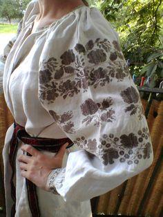 полтавська сорочка, вишита конопляними нитками натурального кольору