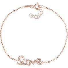 La Preciosa Sterling Silver CZ 'Love' Bracelet ($29) ❤ liked on Polyvore featuring jewelry, bracelets, silver, sterling silver jewelry, sterling silver cz jewelry, cz jewelry, sterling silver jewellery and sterling silver flower jewelry