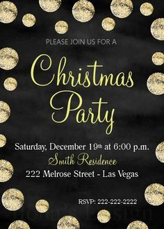 Christmas Party Invitation - Chalkboard Christmas Invite - Printable Gold Invitation - Holiday Party - New Year's Eve by Ilona's Design on Etsy I @ilonaspassion