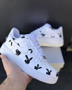 white nike shoes PLAYBOY Vinyl Stencil for Customizing Shoes Jordan Shoes Girls, Girls Shoes, Zapatillas Nike Air Force, Vans Shoes Fashion, Fashion Outfits, Fashion Trends, Custom Painted Shoes, Nike Custom Shoes, Customised Shoes