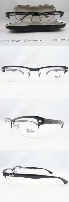 Eyeglass Frames  Ray-Ban Rb 7014 2000 Black Semi-Rimless New Authentic  Eyeglasses 474d1bfd537c