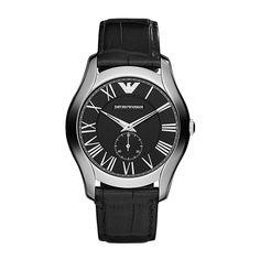 Emporio Armani Gents Black Leather Strap 42mm Watch
