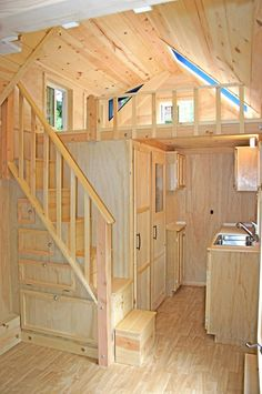 Fitting stairs into a tiny home can be tricky! More: http://moleculetinyhomes.blogspot.ca/2013/04/new-house-5.html