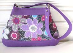 Bold Floral Handbag / Purse in Cotton Corduroy