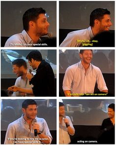 Jensen and Misha- In my top 5 panel moments, Misha's old résumé.