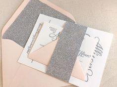 The Stargazer letterpress printed wedding invitation is a great fit for any bride who loves sparkle, a bit of design drama, and of course all things glamorous.