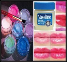 Interesting-Mix a handful of vaseline with a small cut off piece of lipstick in a lip balm container, refrigerate for 30 minutes and it's finished. Homemade Lip Balm, Diy Lip Balm, Tinted Lip Balm, Homemade Lipstick, Beauty Care, Diy Beauty, Beauty Makeup, Beauty Hacks, Beauty Tips