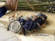 Купить Колье Wonderful garden - бежевый, темно-синий, песочный, бежево-розовый, темный жемчуг