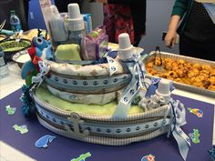Boat Diaper Cake - Perfect for a nautical theme baby shower! Thanks Kari!!