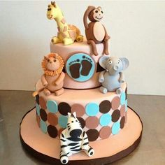 Perfect cake for son's 1st bday. Just replace lil feet with number. :)