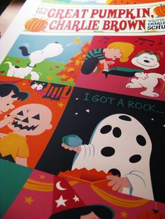 """Close-up of my """"It's the Great Pumpkin, Charlie Brown"""" print by Dave Perillo from Dark Hall Mansion."""