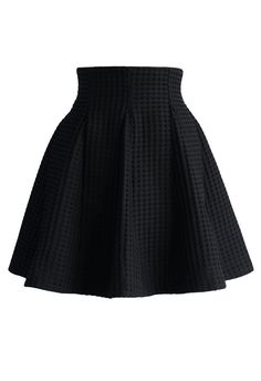 Black Skater Skirt in Waffle Pattern - Retro, Indie and Unique Fashion