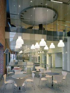 Lohja Main Library, Lohja, Finland - Lahdelma & Mahlamäki Architects Red Brick Walls, Main Library, Red Bricks, First Home, Helsinki, Finland, Chandelier, Indoor, Ceiling Lights