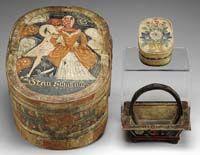 pa german oval bride's box, basket, trinket box