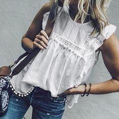 2019 VONDA Women Summer Tunic Blouse Sleeveless Tops Lace Hollow Tanks Butterfly Sleeve Tassel Sexy Blusa Casual Shirt Plus Size Plus Size Tank Tops, Plus Size Blouses, Half Sleeve Shirts, Summer Tunics, Mein Style, Summer Dress Outfits, Classy Casual, Sleeveless Crop Top, Blouse Vintage