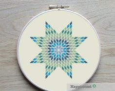geometric cross stitch pattern giant snowflake by Happinesst