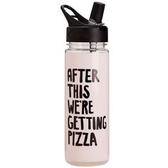 Ban.do 'After This, We'Re Getting Pizza' Water Bottle (370 MXN) ❤ liked on Polyvore featuring home, kitchen & dining and pink