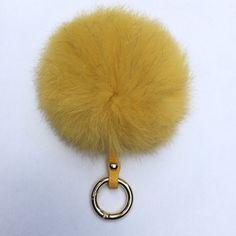 Fur bag charm fur pom pom keychain fur ballkeyring by YogaStudio55