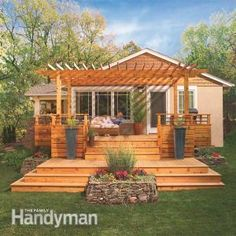 Deck plan with cantilevered seating, cedar pergola, custom railing, and cascading stairs