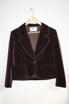 Vintage Jaeger Classic Jacket Bown Cotton Velvet Feel Women's Fashion Size 14 by Fashion4Nation on Etsy