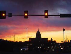 Oklahoma State Capitol Sunset with Gold, Pink, Purple, Gray, Blue. Yellow Stoplights. Photo by Jennifer James, jenx67.com