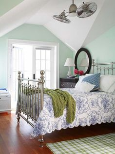 Fan, cool blues and greens!  #countryliving #dreambedroom