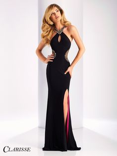 Clarisse Black and Fuchsia Prom Dress 3178. Long fitted prom dress with slit.   Promgirl.net