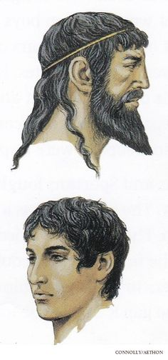Ancient Athenian Men's Hairstyles, circa 5th century BC. (Peter Connolly/Greece/user: Aethon)