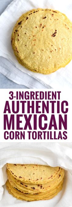 3-Ingredient Authentic Mexican Homemade Corn Tortillas are the best! They're better than store bought, are healthy and are gluten-free. by barbara.stone
