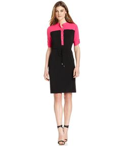 Work Pick: A Pop of Color  Credit: Calvin Klein Dress, Short-Sleeve Colorblocked Shirt Dress