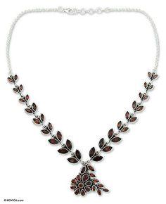 Garnet floral necklace - Scarlet Garland $155