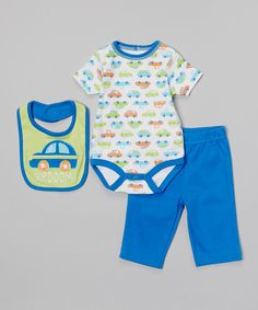 Look at this Baby Headquarters Green & Blue 'Vrooom!' Bodysuit Set - Infant on #zulily today!