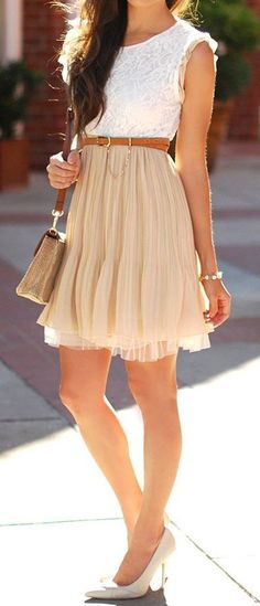 Beautiful girly outfit - soft beige skirt, white lace blouse, tan belt, cream heels, shoulder bag <3