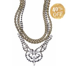 Rhinestone + Bold Chain Drama Necklace.  Perfect for dressing up but looks amazing with a button up jean shirt!