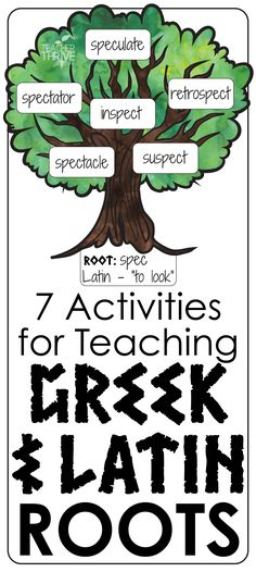 """Greek and Latin roots are the """"building blocks"""" of English and form a powerful framework to nurture students' vocabulary development. Teaching Latin, Teaching Vocabulary, Vocabulary Activities, Vocabulary Strategies, Spelling Activities, Listening Activities, Teaching Ideas, Reading Strategies, Teaching Spanish"""