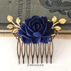 Wedding Hair Comb Bridesmaids Hair Accessories Navy Blue Flower Gold Leaves Dark Blue Bridal Headpiece by Jewelsalem on Etsy https://www.etsy.com/listing/180664398/wedding-hair-comb-bridesmaids-hair